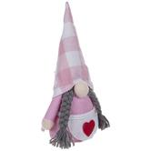 Pink & White Buffalo Check Gnome