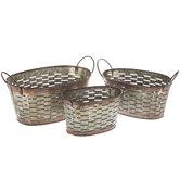 Galvanized Metal Oval Olive Basket Set