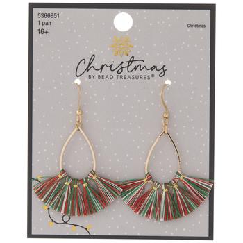 Red, Green & White Tassel Earrings