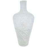 White Distressed Luster Glass Vase