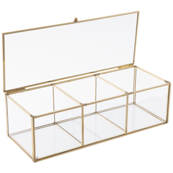 Gold Trimmed Glass Jewelry Box