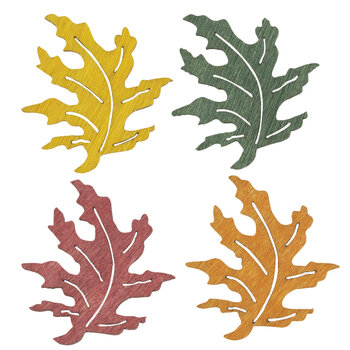 Painted Oak Leaves 3D Stickers