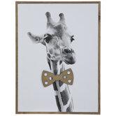 Giraffe In Bow Tie Wood Wall Decor