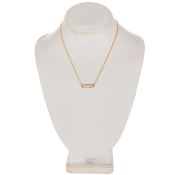 Imitation Trio Stone Chain Necklace