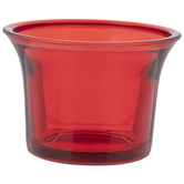 Red Oyster Cup Glass Candle Holder