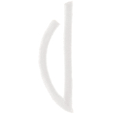 White Circular Monogram Iron-On Left Letter  V - 1 3/4""