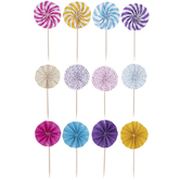Bright Fan Cupcake Toppers