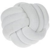 White Velvet Knot Ball Pillow
