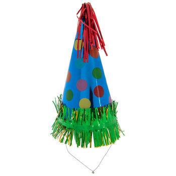 Blue Dots Foil Party Hat With Fringe