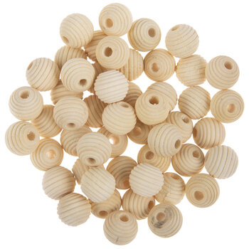 Round Beehive Wood Beads - 14mm