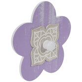Purple Flower Wood Wall Hook
