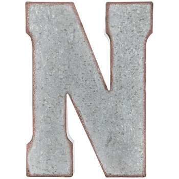 Galvanized Metal Letter Wall Decor - N