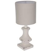 Distressed White Square Lamp