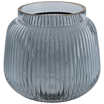 Gray Ribbed Glass Vase