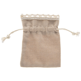 Khaki Jewelry Bags With Lace Trim