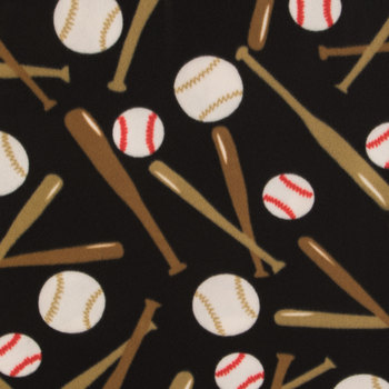 Black Baseballs Fleece Fabric