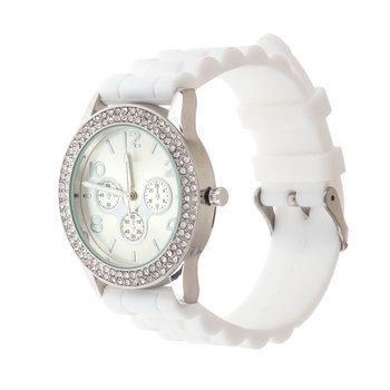 White Textured Silicone Fashion Watch