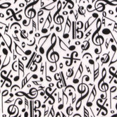 Black & White Music Notes Anti-Pill Fleece Fabric