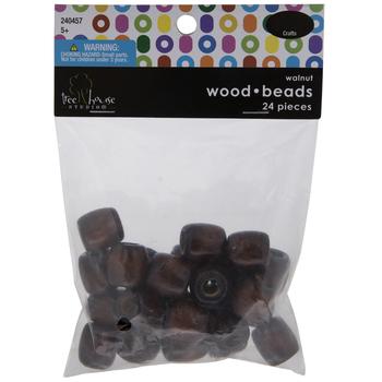 Walnut Barrel Wood Beads - 16mm x 15mm