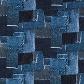 Denim Patch Cotton Calico Fabric