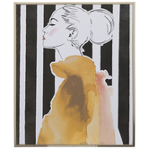 Watercolor Woman Striped Wood Wall Decor