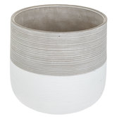 White & Gray Ridged Flower Pot