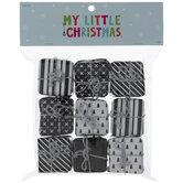 Black & White Mini Wrapped Gift Ornaments
