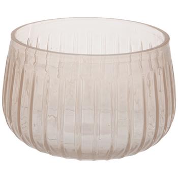 Pink Ridged Glass Bowl