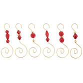 Gold & Red Beaded Metal Ornament Hooks
