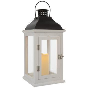 White & Brown Wood Lantern Candle Holder