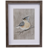 Gray Winter Bird Framed Wall Decor