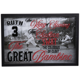 Babe Ruth Nicknames Framed Wall Decor