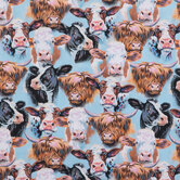 Cow Portraits Cotton Calico Fabric