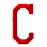 """Red Embroidered Iron-On Letter C - 3"""""""