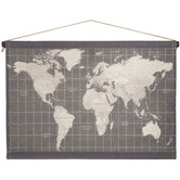 Gray Map Tapestry Wall Decor