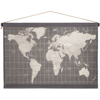Gray Map Tapestry Wall Decor