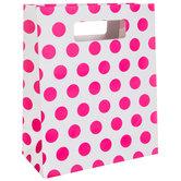 White & Pink Polka Dot Gift Bag