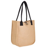 Laminated Jute Tote Bag With Loop Closure