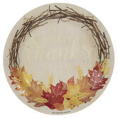 Happy Thanksgiving Wreath Paper Plates - Large