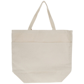 Natural Canvas Tote Bag With Pockets - Large