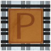 Plaid & Leather Letter Wood Wall Decor - P