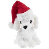 White Dog With Santa Hat Plush