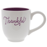 White & Purple Thankful Mug