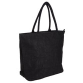 Black Laminated Jute Bag With Zipper
