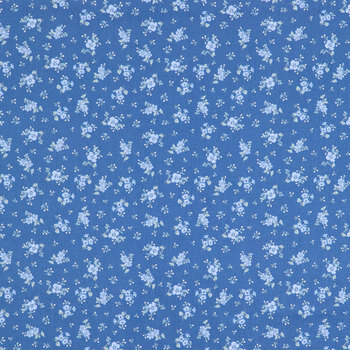 Dark Blue Floral Cotton Calico Fabric