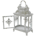 Whitewash Distressed Ornate Metal Lantern