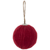 Red Knit Ball Ornaments