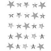 Silver Glitter & Metallic Star 3D Stickers