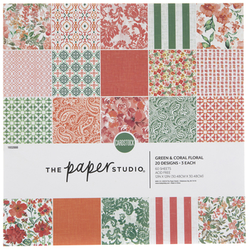 "Green & Coral Floral Paper Pack - 12"" x 12"""