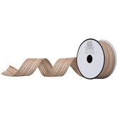 "Brown & Red Striped Burlap Ribbon - 1 1/2"""